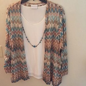 Alfred Dunner blouse sweater w/ matching necklace